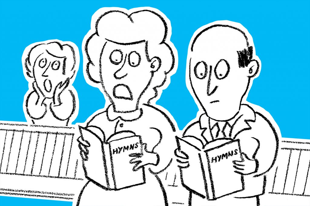 Cartoon of people singing hymns with rude words