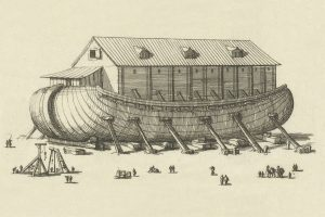 Engraving of the building of Noah's Ark